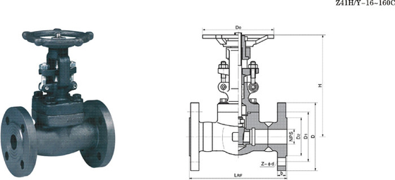 Flanged Forged Cast Steel Gate Valve High Temperature , Threaded Gate Valve