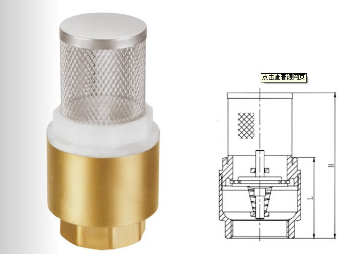 Brass / Stainless Steel Foot Valve Thread Connect End , Spring  Check  Foot Valve
