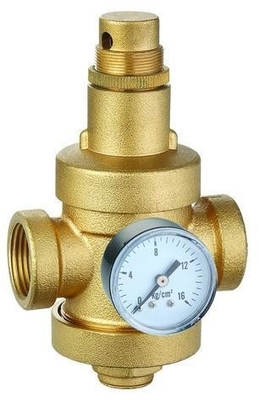 China Brass Water Pressure Reducing Valves With Gauge / Pressure Meter ISO 9001 factory