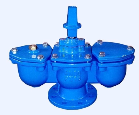 Blue Double Acting Air Release Valve With Ductile Iron Fittings / Chamber
