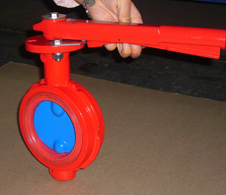 China Red Butterfly Valve Double Flange / Flowline Butterfly Shut Off Valve factory